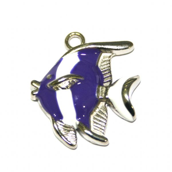 1 x 25*21mm rhodium plated purple / white colour fish enamel charm - SD03 - CHE1278